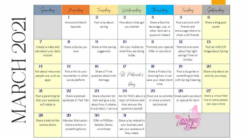 March 2021 printable calendar in PowerPoint from Inspire Kinney Chaos.