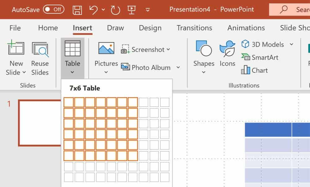 Screenshot of how to select a 7x6 table to create a printable calendar in PowerPoint.