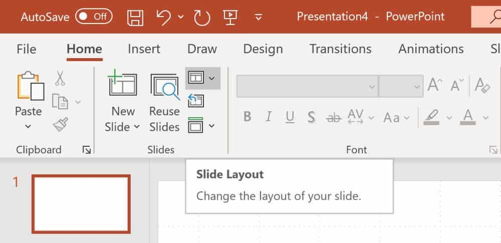 Screenshot of how to change the slide layout to blank to create a printable calendar in PowerPoint.